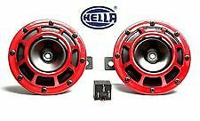 NEW GENUINE HELLA RED GRILL SUPERTONE SIGNATURE HORN SET 12V (PAIR) with relay