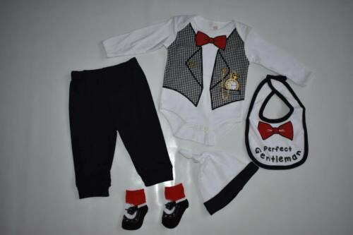 BOYS 5 PIECE SET PERFECT GENTLEMAN BY SOFT TOUCH 0-3 3-6 6-9 MONTHS