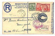 AB321 1914 Trinidad & Tobago Registered USA New York Cover {samwells-covers}PTS