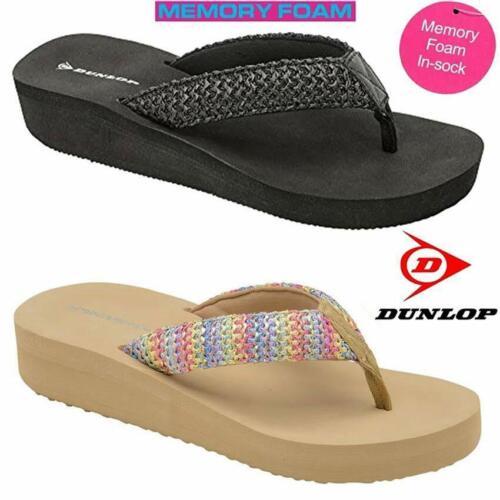 Ladies Womens Dunlop Memory Foam Comfort Walking Beach Wedge Sandals Shoes Size