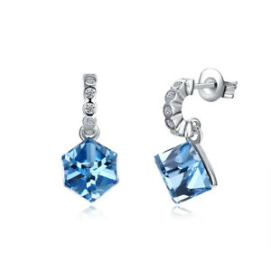 14k White Gold 2ct Tgw Genuine Blue Topaz Stud Earrings 788051118607