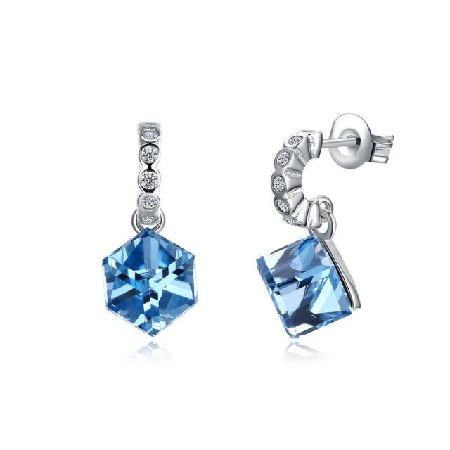 14k White Gold 2ct Tgw Genuine Blue Topaz Stud Earrings Ebay