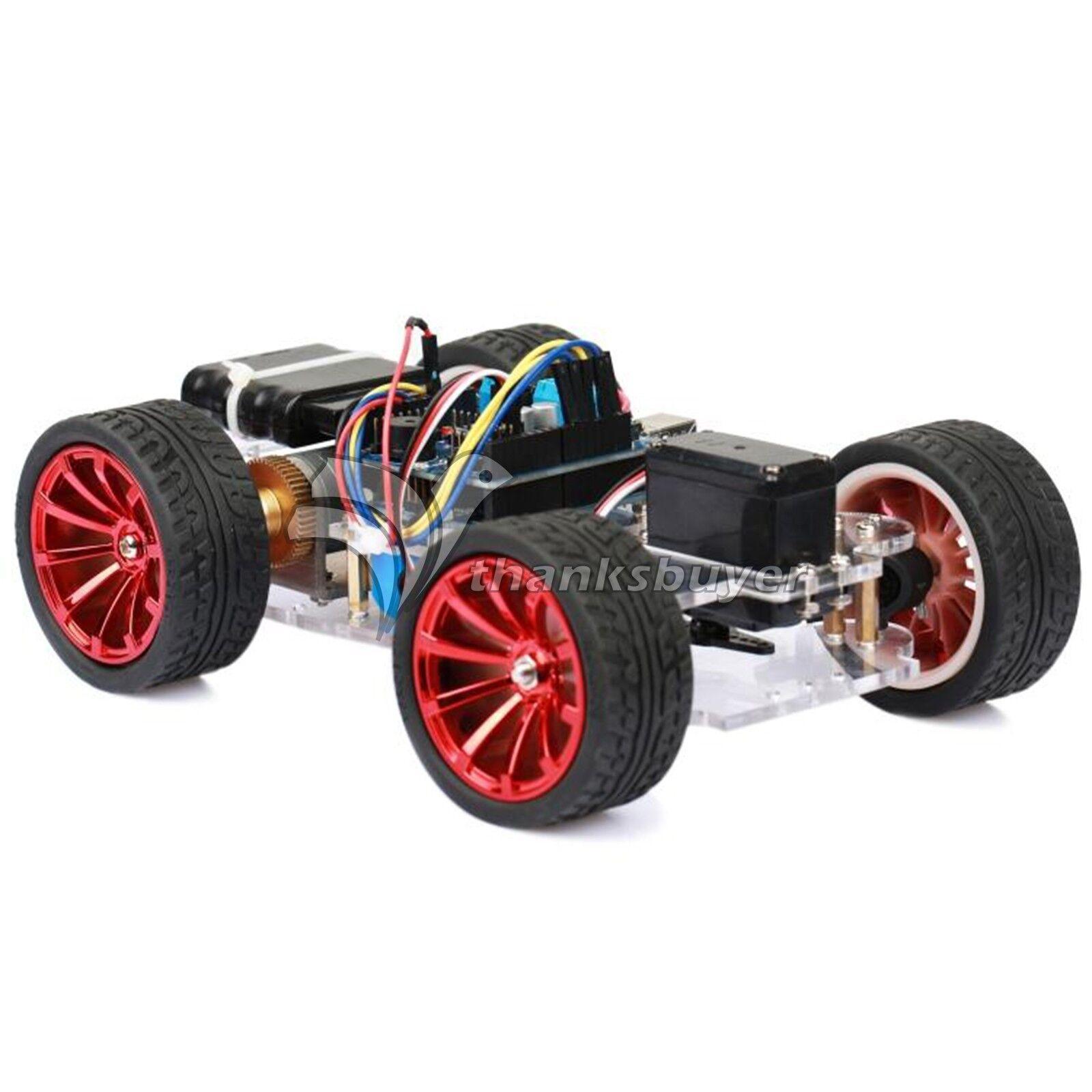 Radio Control 4WD Smart Car Chasis plataforma con S3003 Kit Rodamiento Servo de Metal Para Robot &