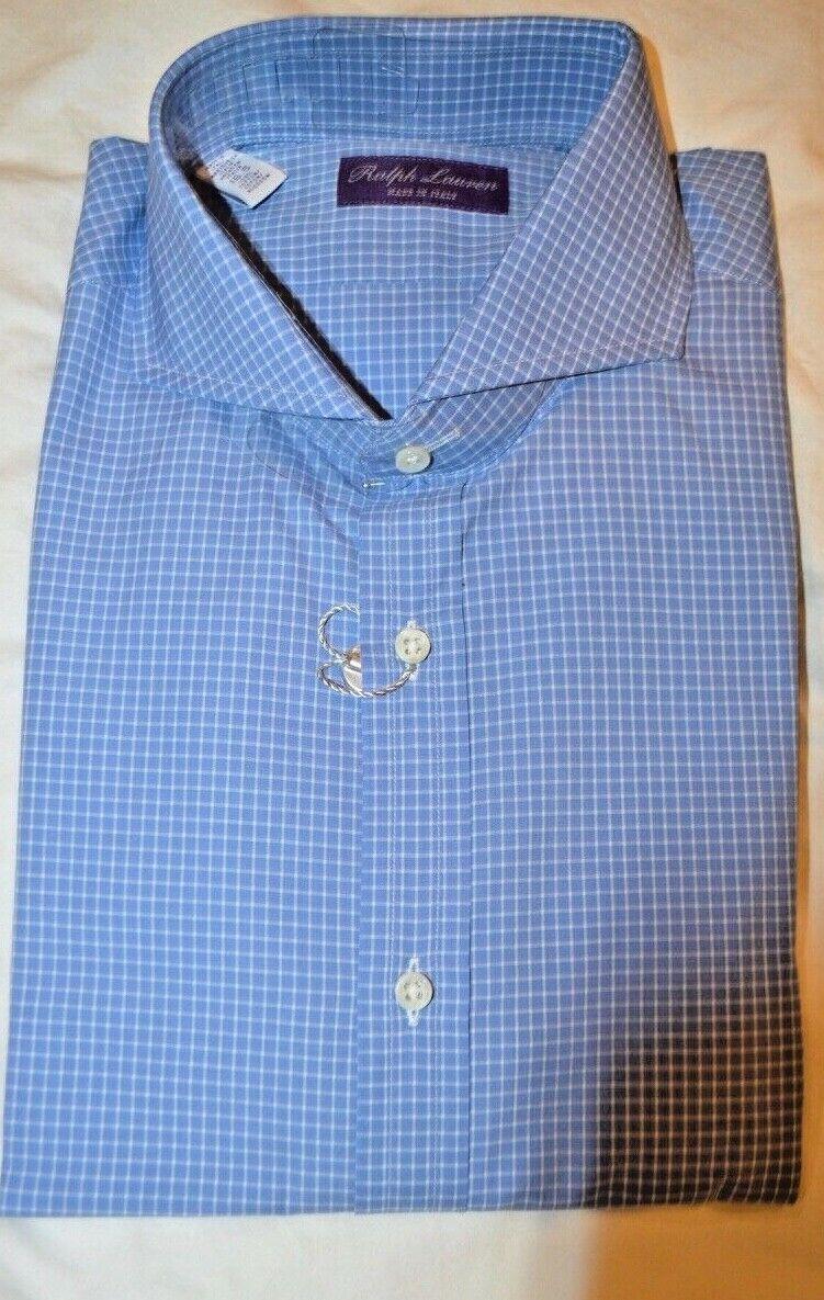 450 NWT lila LABEL Blau 16.5 eu42 KEATON Tattersall Check baumwolle dress hemd
