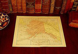 Original 1890 Antique US Territory Map ALASKA Fairweather Village Yukon Sitka AK