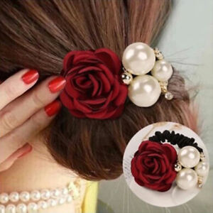 New-Women-Satin-Ribbon-Rose-Flower-Pearls-Hairband-Ponytail-Holder-Hair-Band