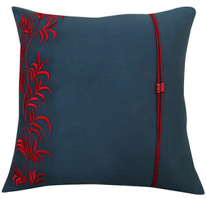 Phenomenal Details About Home Square Leaf Embroidered Cushion Cover Dark Gray Cotton Pillow Cover Spiritservingveterans Wood Chair Design Ideas Spiritservingveteransorg