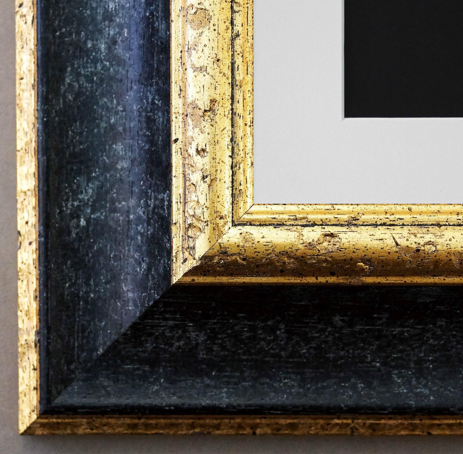 Bilderrahmen Acta in Schwarz - Gold mit Passepartout in Weiss 6,7 Top Qualität