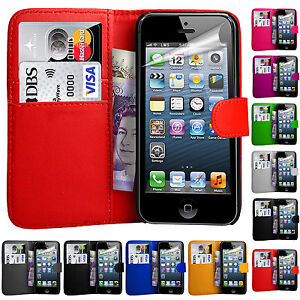 For-Apple-iPhone-4-5-5C-amp-SE-Fits-Leather-Wallet-Book-Magnetic-Flip-Case-Cover