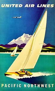 "YOSEMITE United  Air Line 8.5/"" X 11/""  Travel Poster"