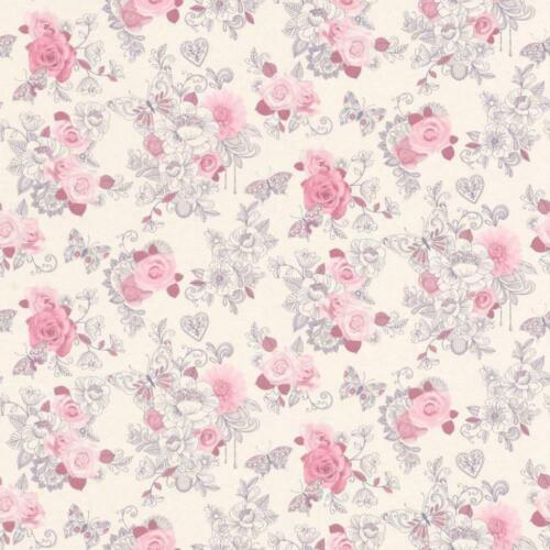 Délicate Fleur Rose Trail Papier Peint Rasch Motif Fleuri Roses Jardin Coeur Papillon
