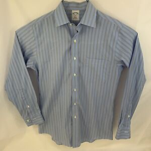 Brooks Brothers Men's 346 Long Sleeve Button Up Blue Green Striped Shirt Size S