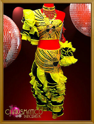 CHARISMATICO Three piece sunny yellow and black sequin ruffled flamenco dress