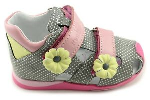 Renbut Girls Grey Leather Close Toe Orthopedic Sandals Girls' Shoes 11-1433 Popiel Roz