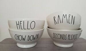 NEW Rae Dunn by Magenta HELLO RAMEN CHOW DOWN SECONDS PLEASE Farmhouse Bowls