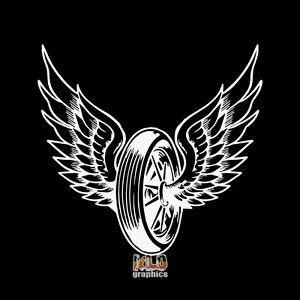 WHEEL-w-WINGS-vinyl-sticker-MOTORCYCLE-RACING-VINTAGE-Cycle-COLLECTOR-HARLEY-FAN