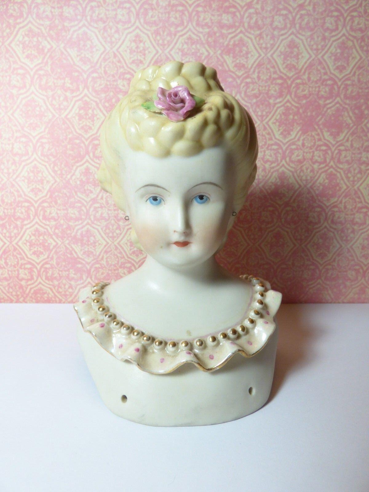 RARE 5  Blonde Updo EMMA CLEAR 1945 Bisque Porcelain Parian Doll Shoulder HEAD