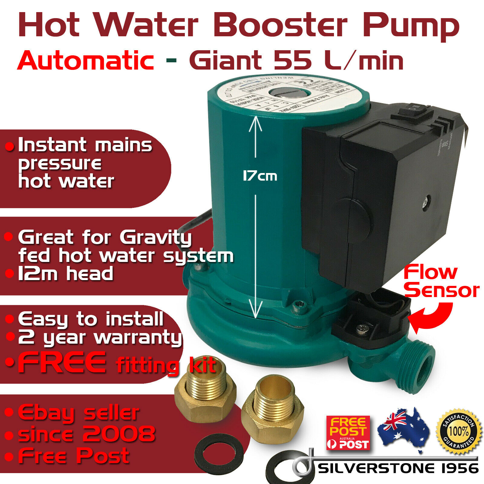 Giant Hot Water Shower AUTOMATIC ON OFF Booster Pump Gravity Fed System 55 L/Min