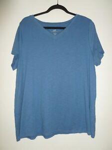 NEW-J-JILL-2X-Pima-Slub-Cap-Sleeve-V-neck-Tee-Shirt-100-Cotton-Blue