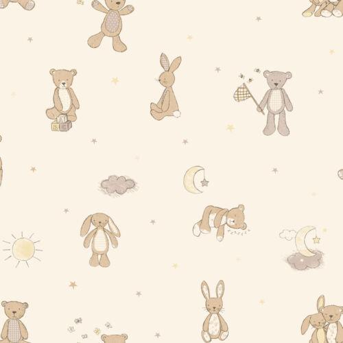 BEAR HUGS Teddy Bear Stars Moon Nursery Children/'s Children Kids Wallpaper /& Art