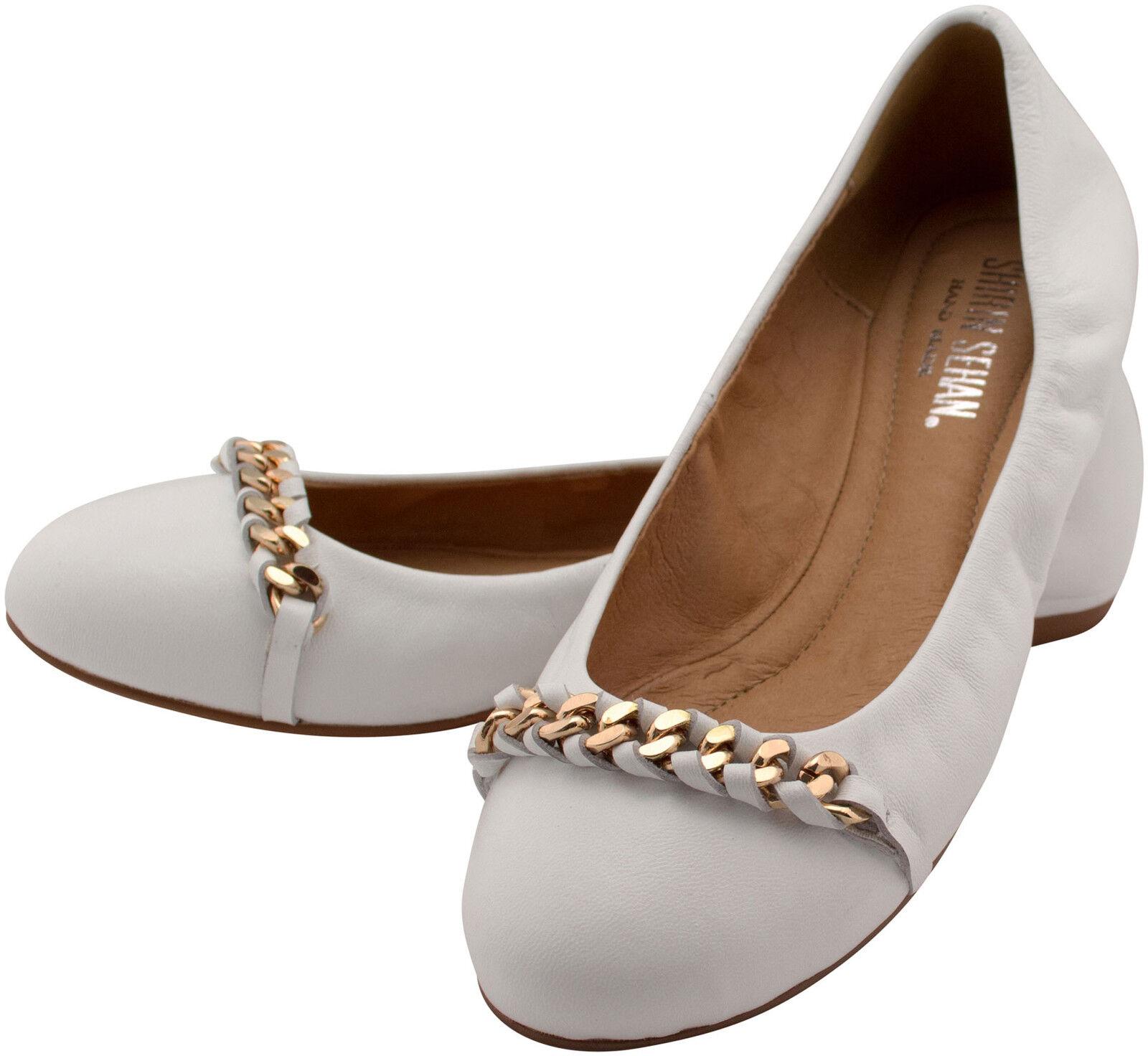 Ballerine stretch Cuir blanc Confortable Décor Chaîne collection Raide Taille 37 blanc