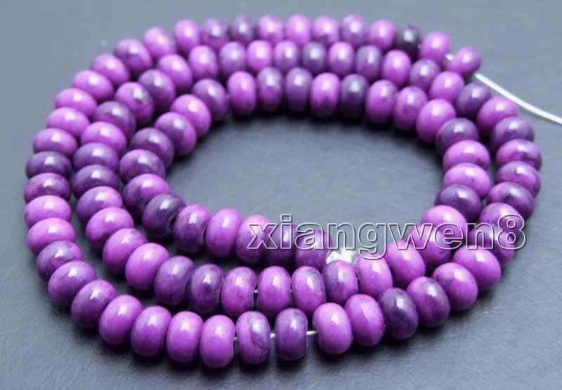 4*6mm Rondelle natural púrpura Sugilite grano para joyería haciendo Suelto Strand 15