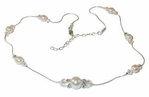 CLEAR-AB-Crystal-amp-CREAM-Pearl-Necklace-Bride-Sterling-Silver-Swarovski-Elements