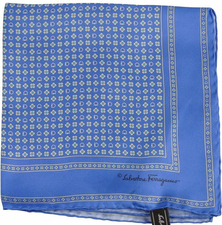 Salvatore Ferragamo Pocket Square/Hanky Blue Multi-Flower Pattern 100% Silk