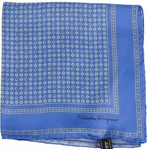 ad68d91d541eb Image is loading Salvatore-Ferragamo-Pocket-Square-Hanky-Blue-Multi-Flower-