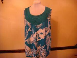 Style Co Macy S Sleeveless Tunic Top Shirt Cotton Sz 1x Plus Turquoise White Ebay
