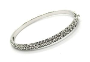 CHINA SW 925 Sterling Silver CZ Hinged Bracelet 22 2 grams 7
