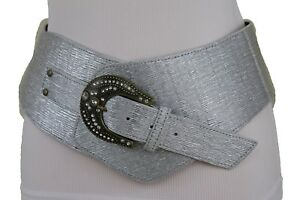 Women Wide Western Silver Belt Hip Waist Antique Metal Buckle Plus Size XL XXL