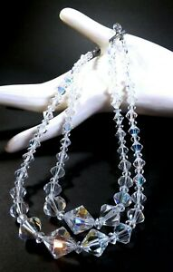 Vintage-AURORA-BOREALIS-CRYSTAL-NECKLACE-Glass-Clear-2-Strand-Graduated-Beads