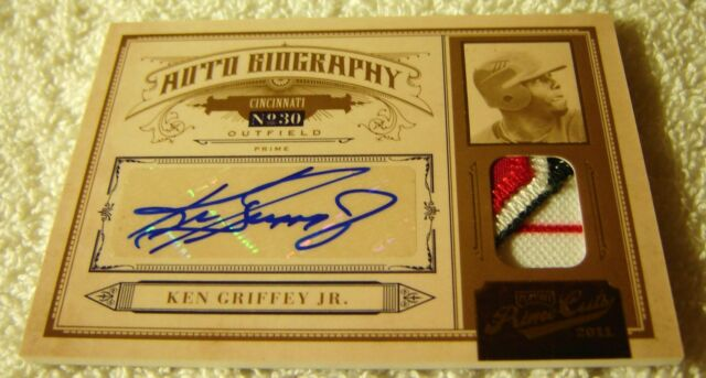 KEN GRIFFEY JR 2011 PLAYOFF PRIME CUTS AUTO BIOGRAPHY PATCH PRIME #25 SERIAL 2/5