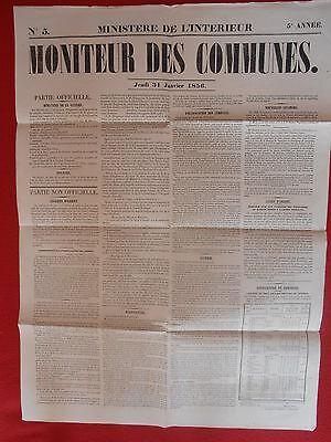 Nieuwe Mode Journal Le Moniteur Des Communes Ministere De L'interieur N° 5 31 Janvier 1856 Straatprijs