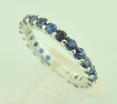 14k  White gold Natural Blue Sapphire Eternity Ring  September Birthstone size 6