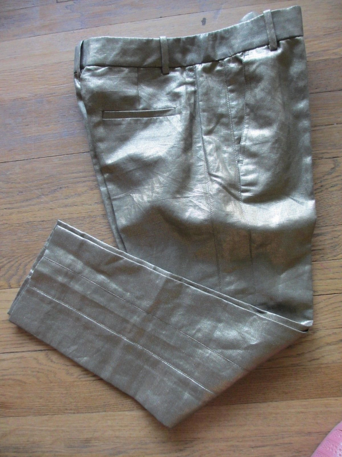 J. Crew Garden Pant Linen Metallic Foil Womens Cropped Leg New Size 2