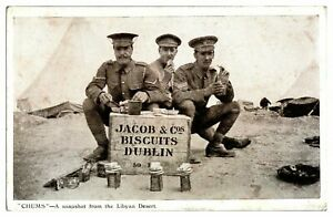 Antique-printed-military-WW1-postcard-Chums-the-Libyan-Desert-Jacob-Co-biscuits