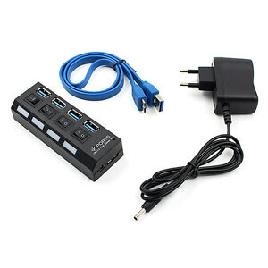 LED-Anzeige-USB-3-0-Hub-mit-On-Off-Schalter-Netzteil-fuer-Lapto-CBL