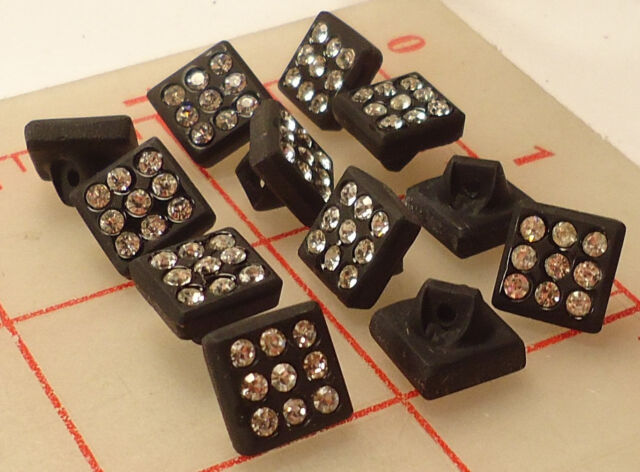 "12 vintage small black glass square shank rhinestone buttons Czech 3/8"" 10mm 461"