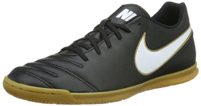 a7f9923f4 Nike Men s Tiempo Rio III IC Black White Metallic Gold Indoor Soccer Shoe  size