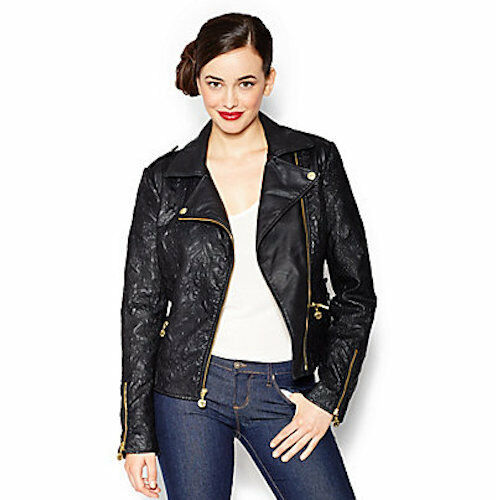 $190 Betsey Johnson Textured Faux Leather Moto Jacket in Black NWT M