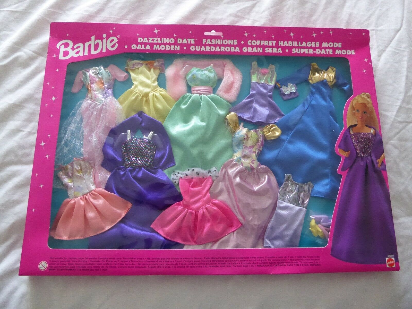 "1993 BARBIE FASHION ACCESSORIES ""DAZZLING DATE"" 10 OUTFITS + 3 PRS OF Schuhe -NEW"