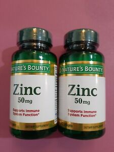 2x-Nature's Bounty Zinc 50 mg 100 Caplets Immune System Support Health NEW