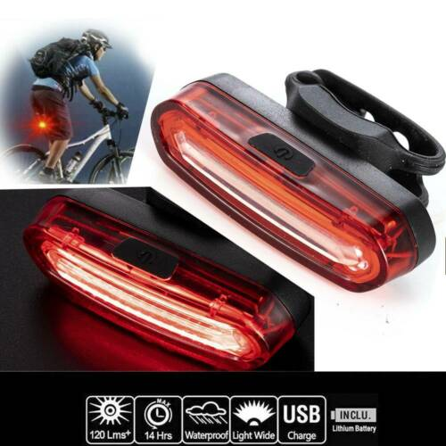 USB Rechargeable Bicycle Tail Light LED Rear Helmet Bike Cycling Safe Flashlight