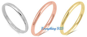 Sterling-SIlver-925-LADIES-MEN-039-S-WEDDING-BAND-DESIGN-SILVER-RING-2MM-SIZES-2-15