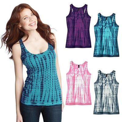 4 PACK Ladies Tie Dye Yoga Racerback Style Cotton Tank Top