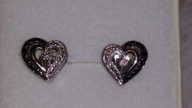 Lovely Kay Jewelers Sterling Silver Heart Shaped Black White Diamond Earrings