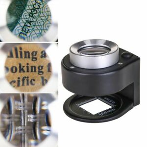 Cloth//Jeweler Metal Magnifier 30x With Scale 3 LED Lights Magnifying Glass Loupe