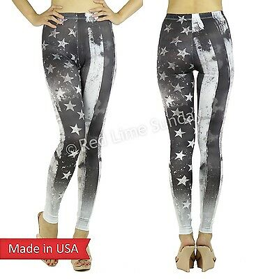 Women Weathered US American Stars n Stripes Black White Gray Legging Pants USA